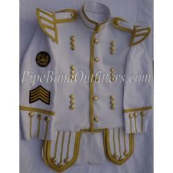 White Doublet Military Band Drum Major Kilt Jacket