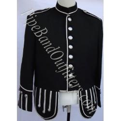 Pipe Band Black Military Uniform Doublet Jacket