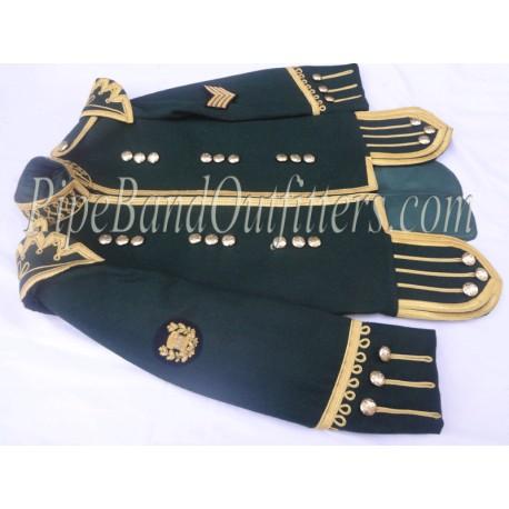 Dark Green Pipers Doublet Scottish Uniform Jacket