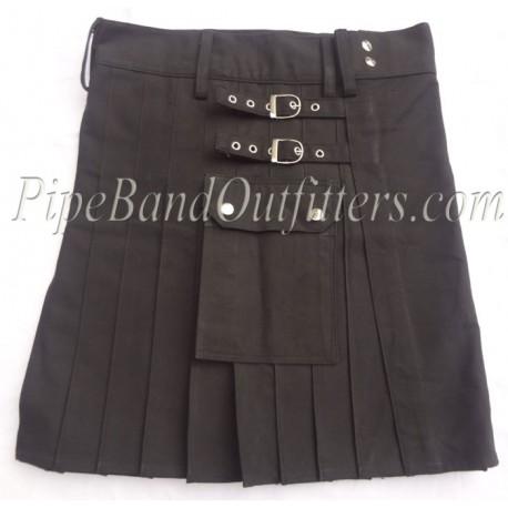 Short Cotton Kilt in Black