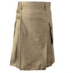 Short Cotton Kilt in Khaki