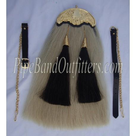 Piper Real Long Horse Hair Sporran in Gold