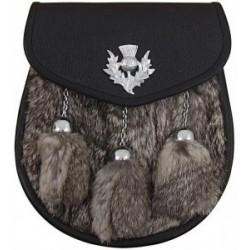 Scottish Piper Black Leather Sporran