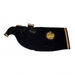 Black Velvet Bagpipe Cover - Gold Fringe