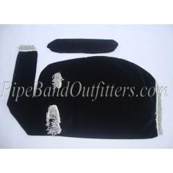 Black Velvet Bagpipe Cover - Silver Fringe